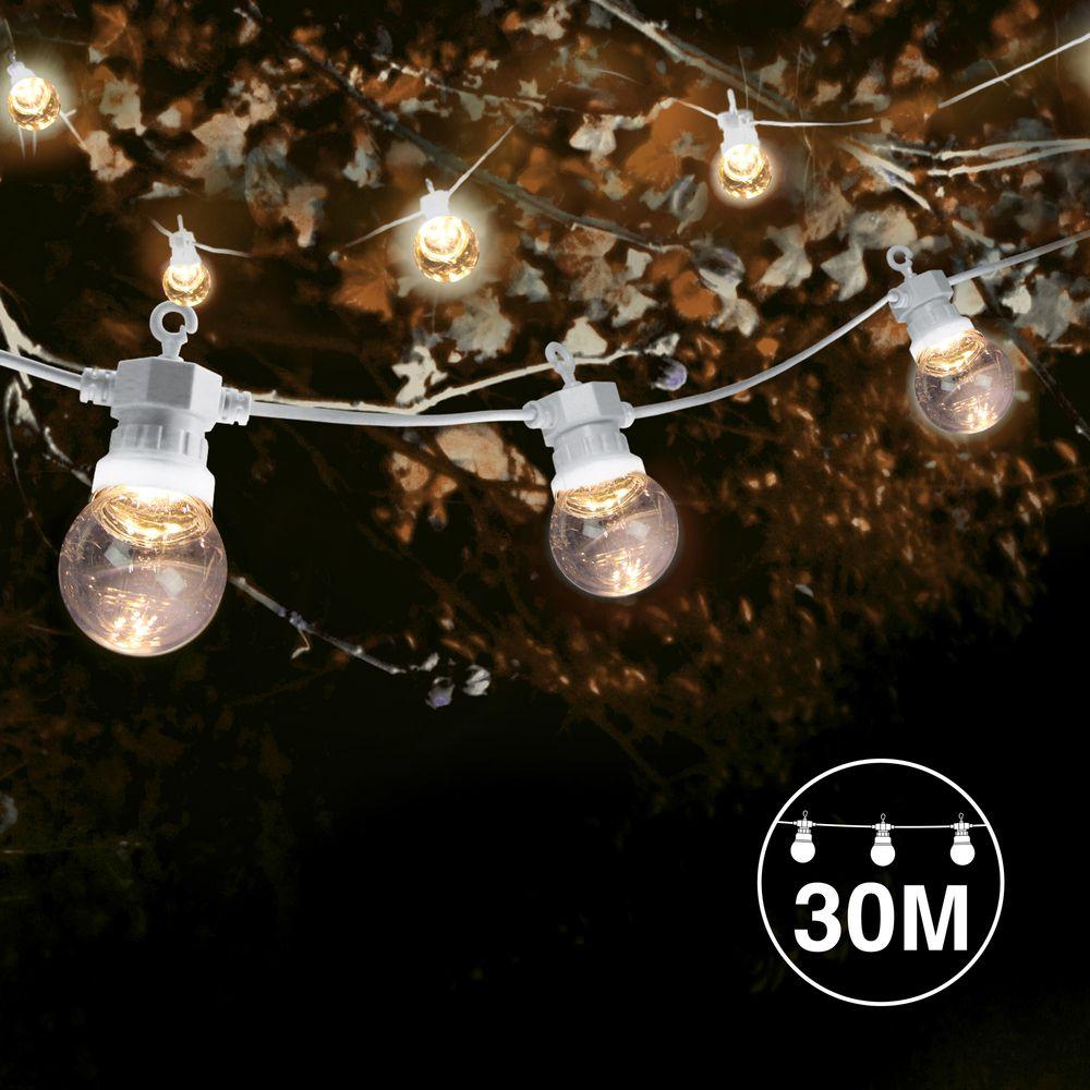 Kit Guirlande Guinguette 30m Câble Blanc Bulbes Transparent