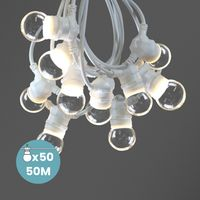 Kit Guirlande Guinguette 50m IP 65 Cable Blanc Bulbes Transparents