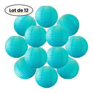 Lot de 12 Boules Japonaises Turquoise 30 cm