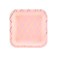 Assiette Carrée Carton Rose et Or x6