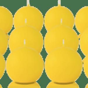 Pack de 12 bougies ronde Jaune 7cm
