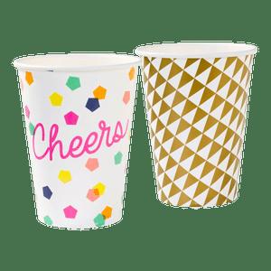 Gobelet carton cheers et arlequin or x12