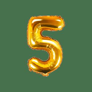 Ballon Chiffre 5 Or 35 cm