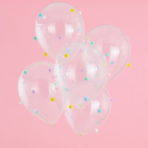 Ballon Transparent avec Pompons Multicolores x5