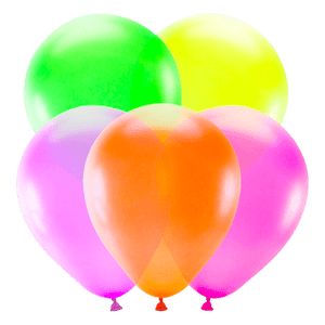 Ballon Fluo Latex Multicolore x5