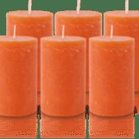 Pack de 6 Bougies Rustiques Orange 11x7cm