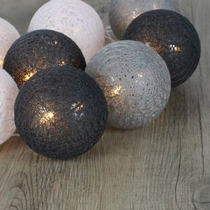 Guirlande Lumineuse Boules Coton Gris