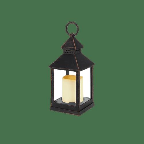 Lanterne avec bougie LED Noir 23 cm