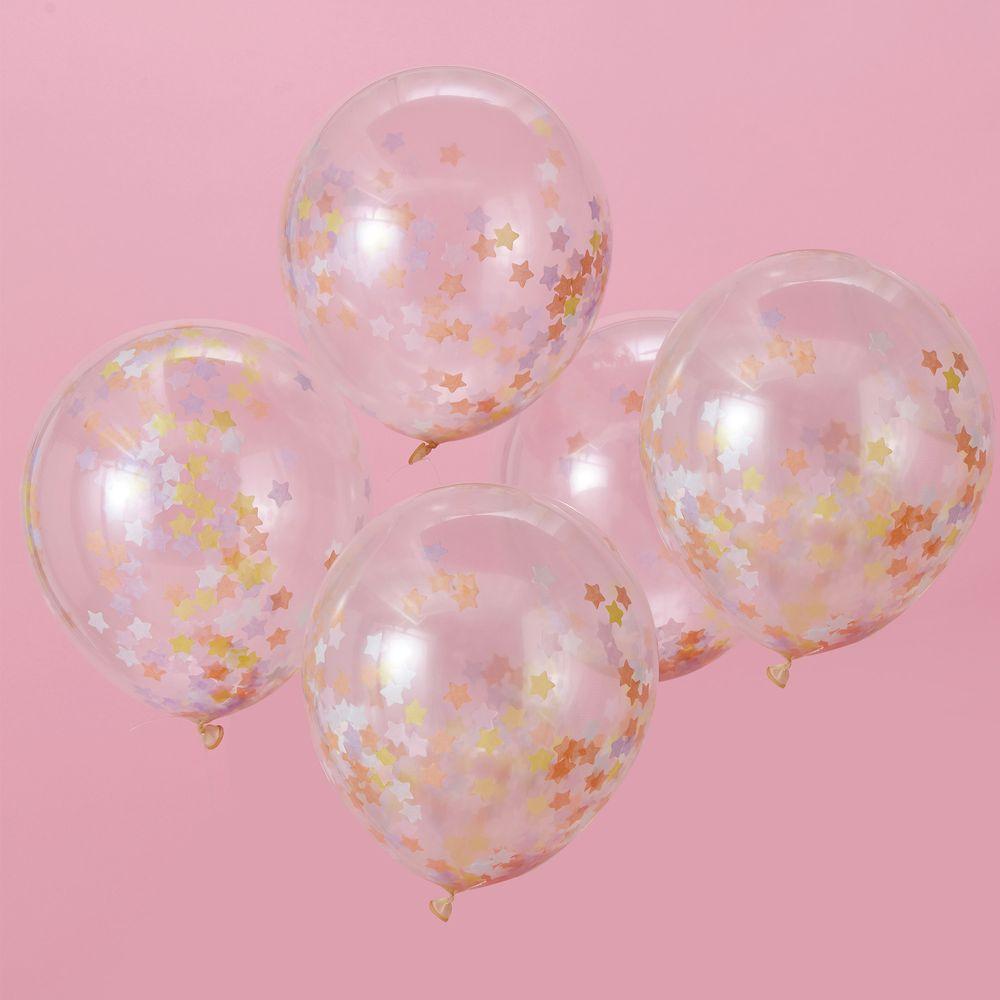 Ballons Confettis Étoiles Pastel x5