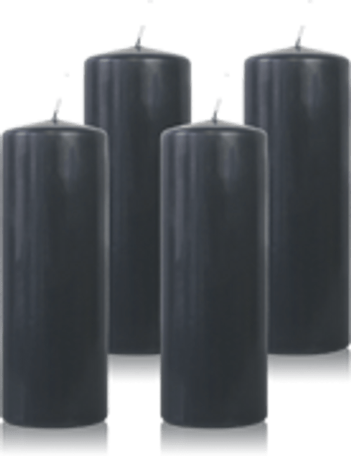 Pack de 4 bougies cylindres Gris Anthracite 7x21cm