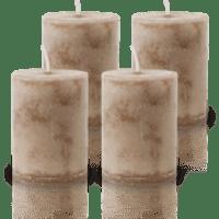 Pack de 4 Bougies Marbrées Taupe 7x5cm