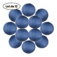 Lot de 12 Boules Japonaises Bleu Navy 30 cm