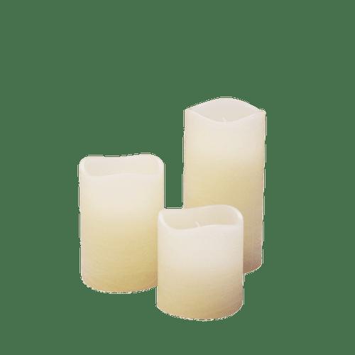 3 bougies LED rustiques Ivoire