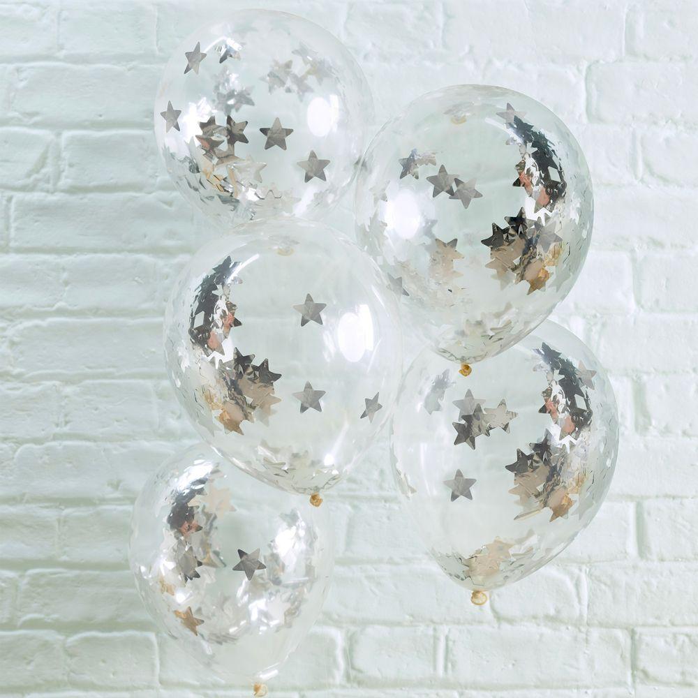 Ballons Confettis Étoiles Argent x5
