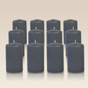 Pack de 12 bougies cylindres Gris Anthracite 6x10cm