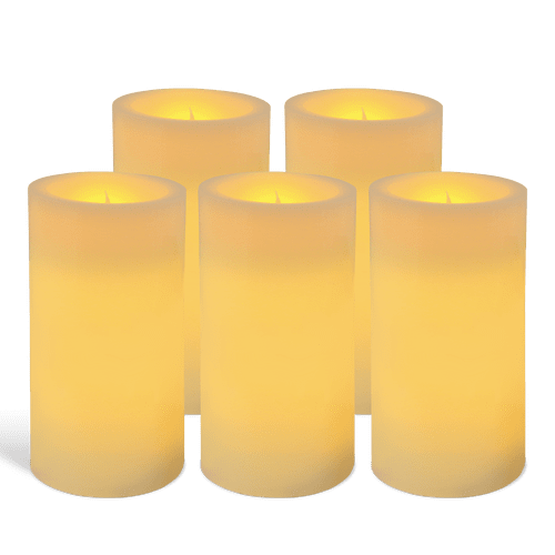 Pack de 5 bougies pilier LED Ivoire 7x15cm