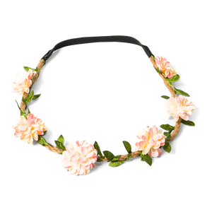 Headband Plastique Dahlia Rose 20 cm