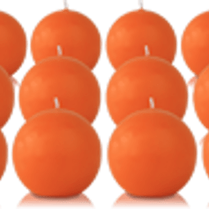 Pack de 12 bougies ronde Orange 7cm