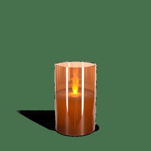 Bougie Led Verre flamme vacillante Ambre 7,5 cm