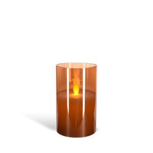 Bougie Led Verre flamme vacillante Ambre 7,5 cm
