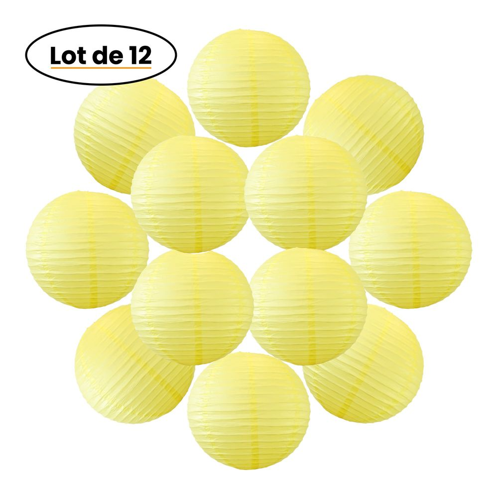 12x Lanterne Papier 30 cm Jaune - Suspension Boule Papier 30 cm (12'') type Lanterne Japonaise pour Decoration Mariage - 12 pièces - Le must de la Gamme de Lampions Papier - Notice en Français.