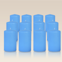 Pack de 12 bougies cylindres Bleu Turquoise 6x10cm