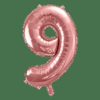 Ballon Chiffre 9 Rose Champagne 90cm
