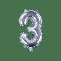 Ballon Chiffre 3 Latex Argent