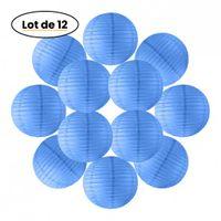12x Lanterne Papier 30 cm Bleu Roi - Suspension Boule Papier 30 cm (12'') type Lanterne Japonaise pour Decoration Mariage - 12 pièces - Le must de la Gamme de Lampions Papier - Notice en Français.