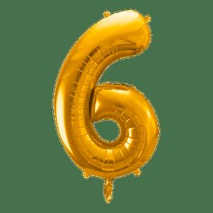 Ballon Chiffre 6 Or 90 cm