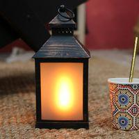 Lanterne Led Noire Patinée effet Torche 26 cm