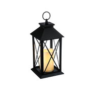 Lanterne avec bougie LED Noir 28 cm