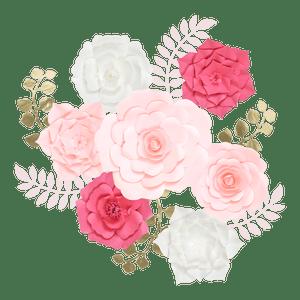 Kit Fleurs En Papier Pur Rose x7 + Rameaux