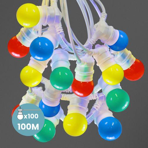 Kit Guirlande Guinguette 100m IP 65 Cable Blanc Multicolore
