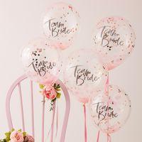 Ballon Team Bride avec Confettis Rose Gold x5