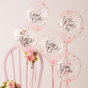 Ballon Team Bride avec Confettis Rose Gold x5