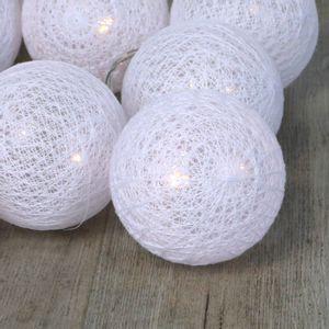Guirlande Lumineuse Boules Coton Blanc