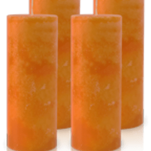 Pack de 4 Bougies Marbrées Orange 18x7cm
