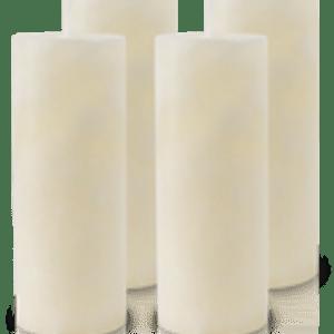 Pack de 4 Bougies Marbrées Ivoire 18x7cm