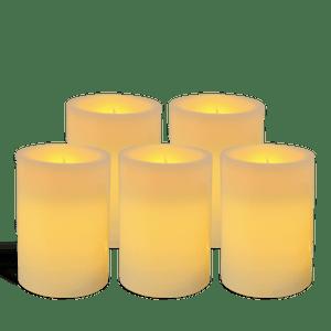 Pack de 5 bougies pilier LED Ivoire 7x10cm