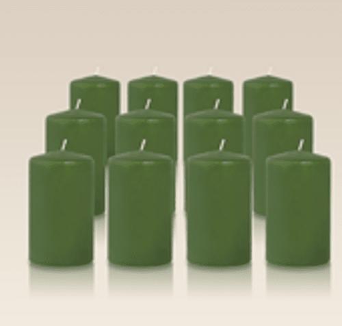 Pack de 12 bougies cylindres Vert 6x10cm