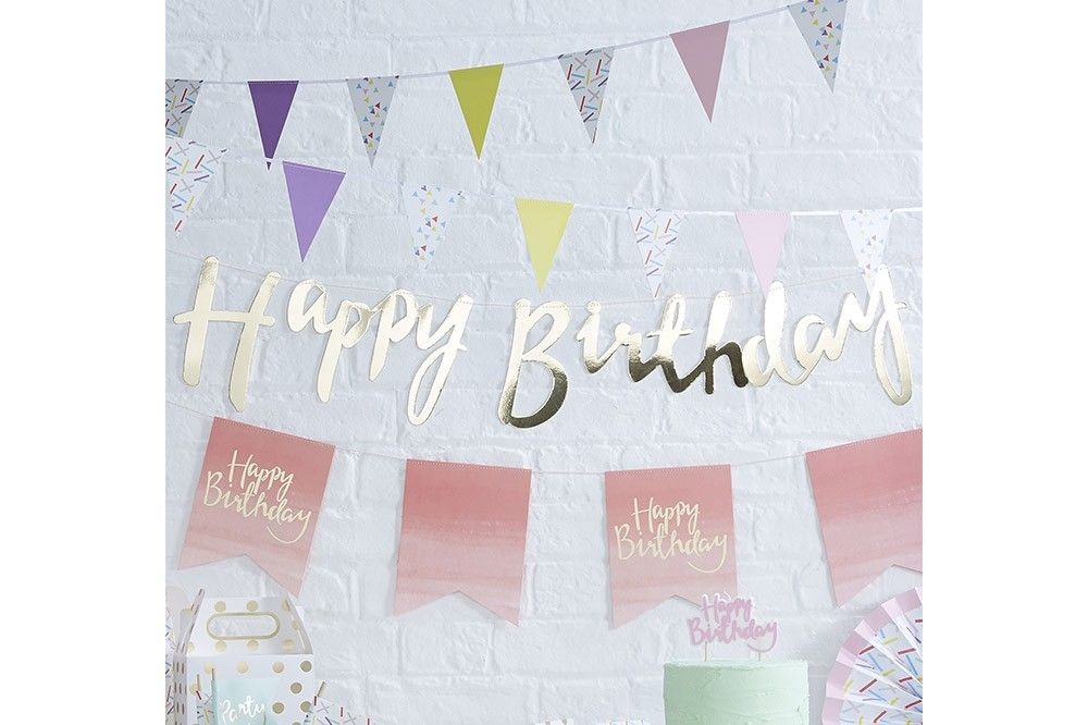Guirlande Happy Birthday Gold 1,5m