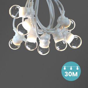 Kit Guirlande Guinguette 30m IP 65 Cable Blanc Bulbes Transparents