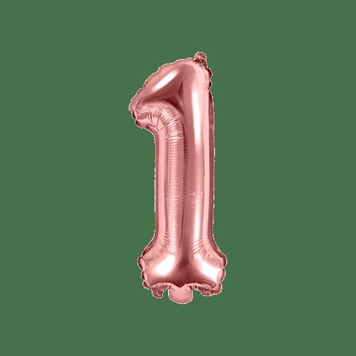 Ballon Chiffre 1 Rose Champagne 35cm