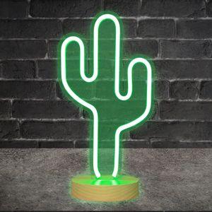 Lampe Néon sur pied Cactus Vert 41 cm