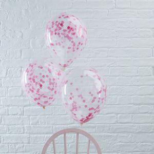 Ballon Confettis Rose x5