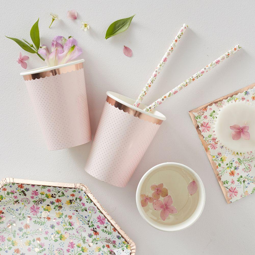 Gobelet Carton Liberty Rose Pastel x8