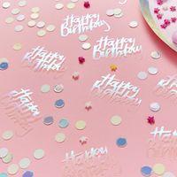 Confettis de table Carton Happy Birthday Iridescent