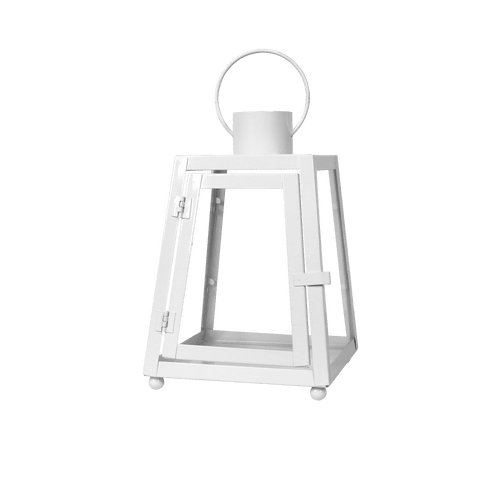 Lanterne en Métal Blanc Pyramidale 25cm