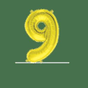 Ballon Chiffre 9 Or 35 cm